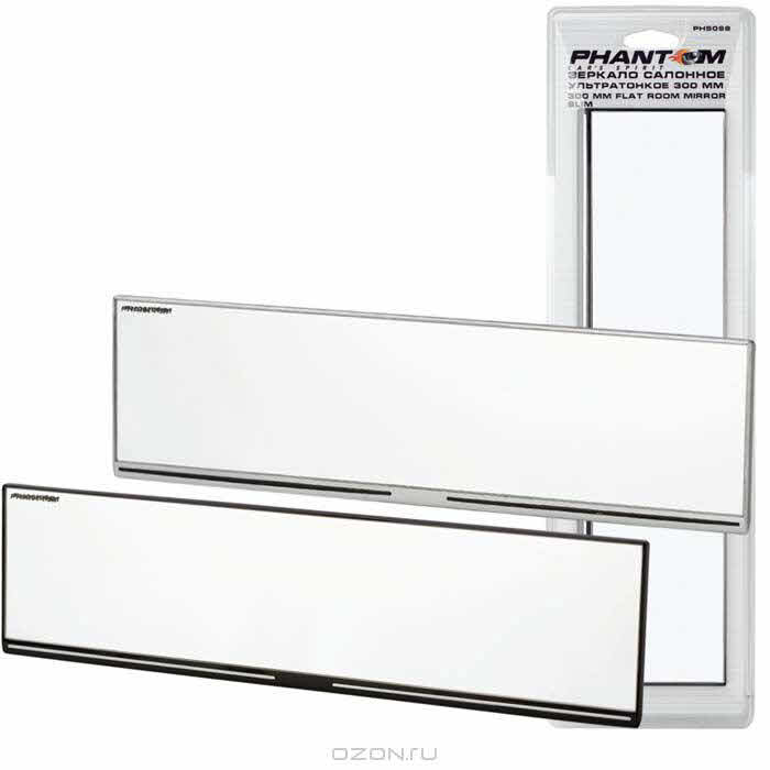 Зеркало салонное Car's spirit, ультратонкое, цвет: черный, 30 см х 7 см