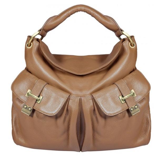 Женская кожаная сумка с 2 кармашками Lido_lightbeige от Trendy Bags