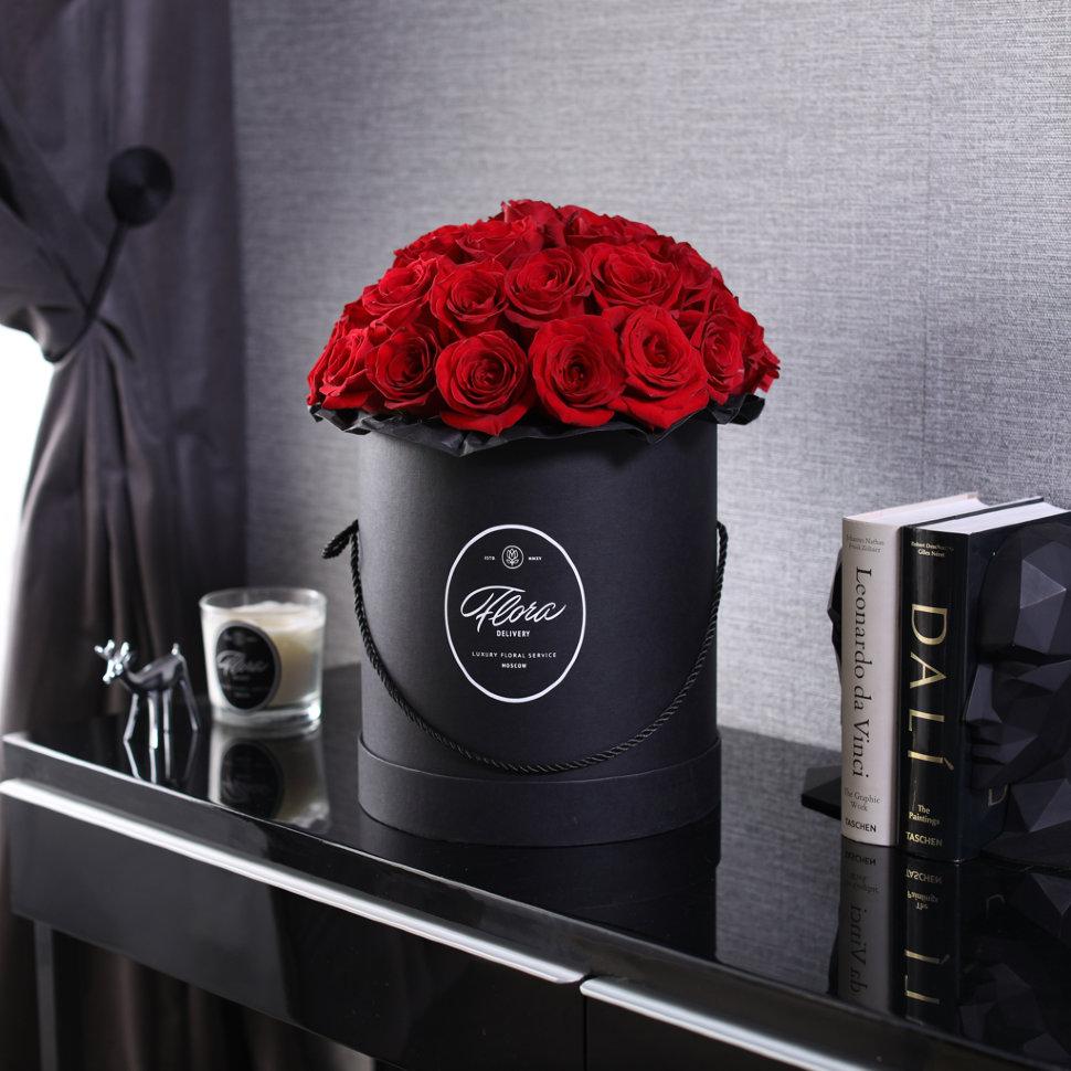"Шляпная коробка Grand ""Розы Freedom"" BLVCK FloraDelivery"