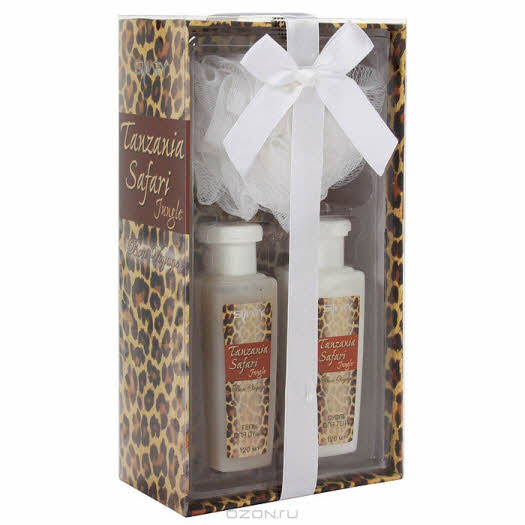 """купить в интернет магазине: Подарочный набор Shary """"Tanzania Safari Jungle"""": гель для душа, суфле для тела, мочалка"""