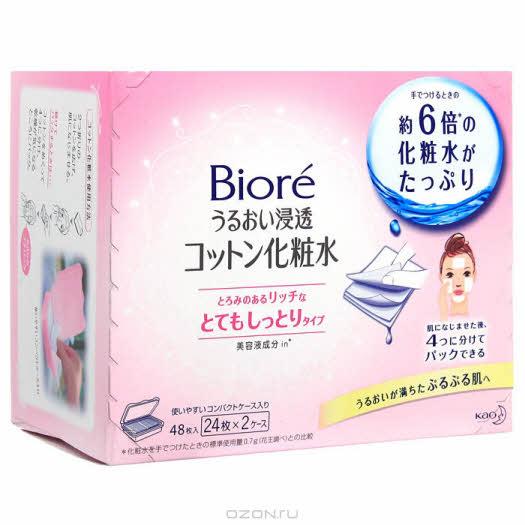 """Салфетки для лица KAO """"Biore"""", для очищения, увлажнения, для сухой кожи, 2×24 шт"""