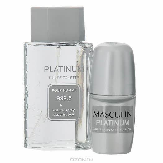 """купить в интернет магазине: Masculin Набор """"Platinum"""": туалетная вода, дезодорант"""
