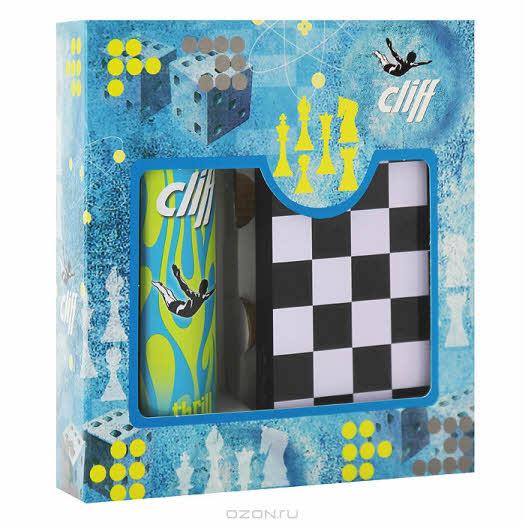 """Cliff Подарочный набор """"Стратегия"""": шампунь-гель для душа """"Энергия трепета"""", настольная игра 3в1"""