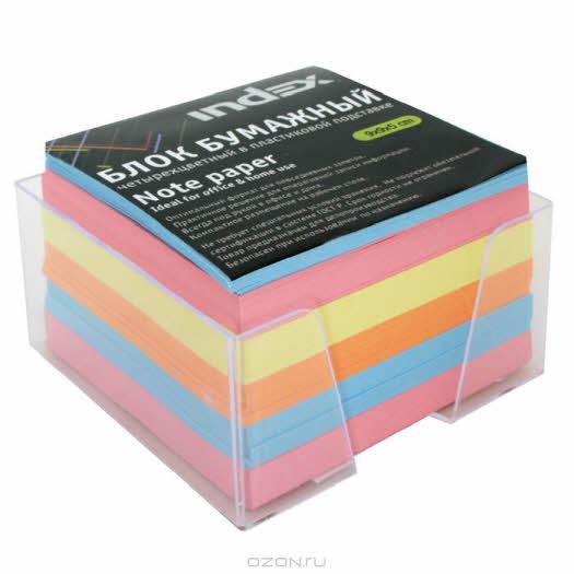"""Бумага для записей многоцветная """"Index"""", в подставке, 90х90х50"""