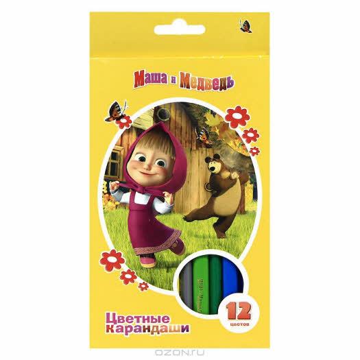 """Цветные карандаши """"Маша и Медведь"""", 12 цветов"""
