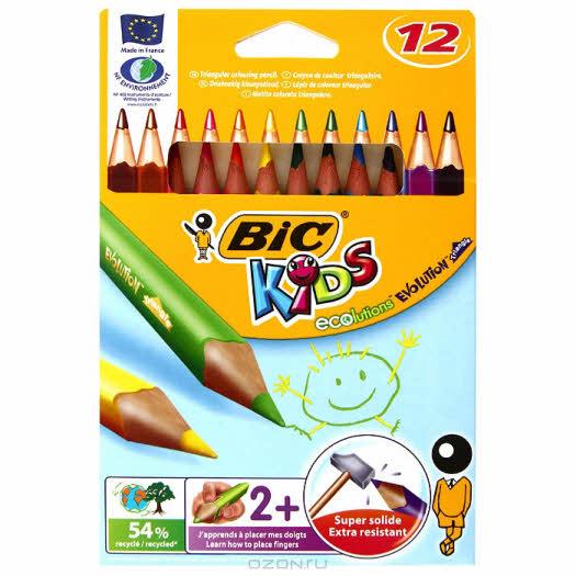 """Карандаши цветные Bic """"Evolution Triangle"""", 12 цветов"""