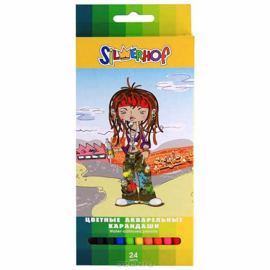 "Карандаши цветные акварельные Silwerhof ""Funky Style"", 24 цвета. 134055-24"