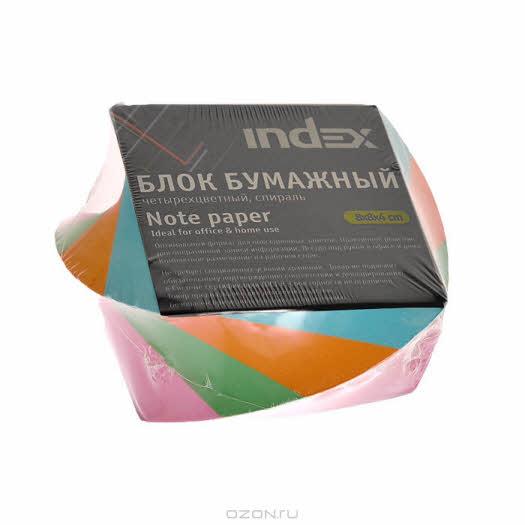 """Блок бумажный """"Index"""", многоцветный, 80х80х40"""