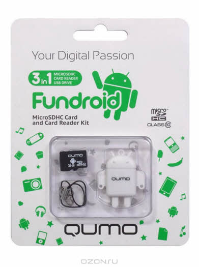 QUMO microSDHC Class 10 16GB + картридер/USB накопитель Fundroid, White
