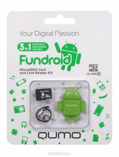 QUMO microSDHC Class 10 16GB + картридер/USB накопитель Fundroid, Green
