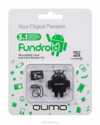 QUMO microSDHC Class 10 32GB + картридер/USB накопитель Fundroid, Black
