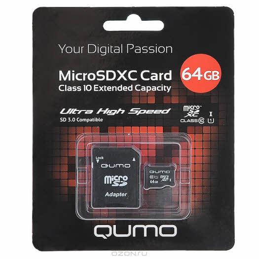 QUMO microSDXC Сlass 10 UHS-I 64GB + адаптер SD 3.0