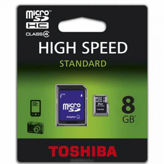 Toshiba microSDHC class 4 8GB + SD адаптер (SD-C08GJ(BL5A)