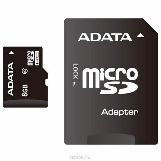 ADATA microSDHC Class 10, 8GB + адаптер SD