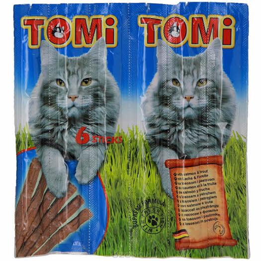"""Палочки """"Tomi"""" для кошек, с лососем и форелью, 6 х 5 г"""