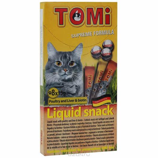 """Лакомство-соус """"Tomi"""" для кошек, с курицей, печенью и биотином, 8 х 15 г"""