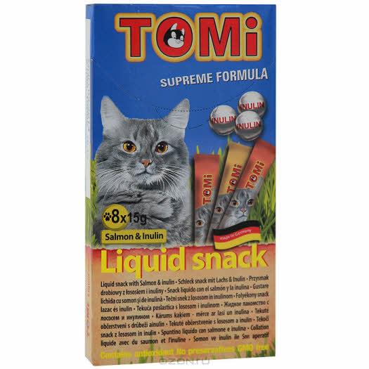 """Лакомство-соус """"Tomi"""" для кошек, с лососем и инулином, 8 х 15 г"""