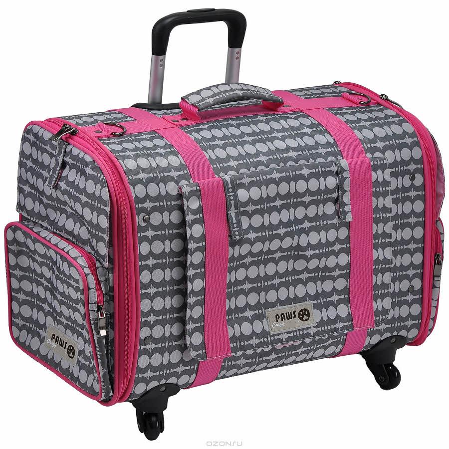 """Перевозка для животных Crazy Paws """"4 Wheel Mobile"""", цвет: розовый, серый. Размер Large"""