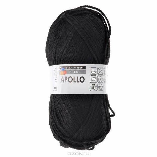 """Пряжа для вязания """"Apollo"""", цвет: черный (00099), 200 м, 100 г"""