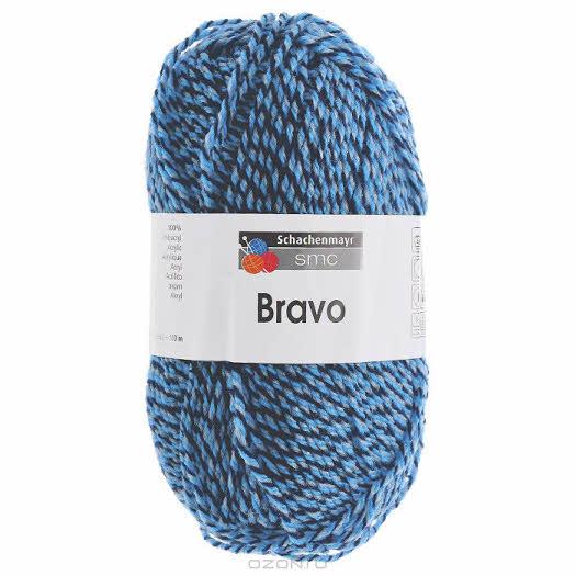 """Пряжа для вязания """"Bravo"""", цвет: синий, черный, голубой (08182), 133 м, 50 г"""