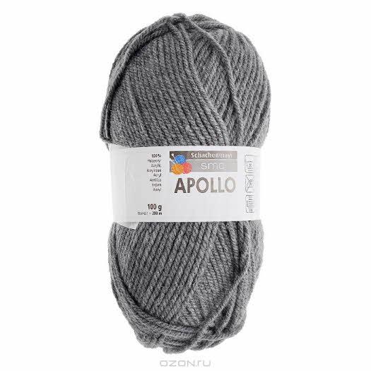 """Пряжа для вязания """"Apollo"""", цвет: серый (00091), 200 м, 100 г"""