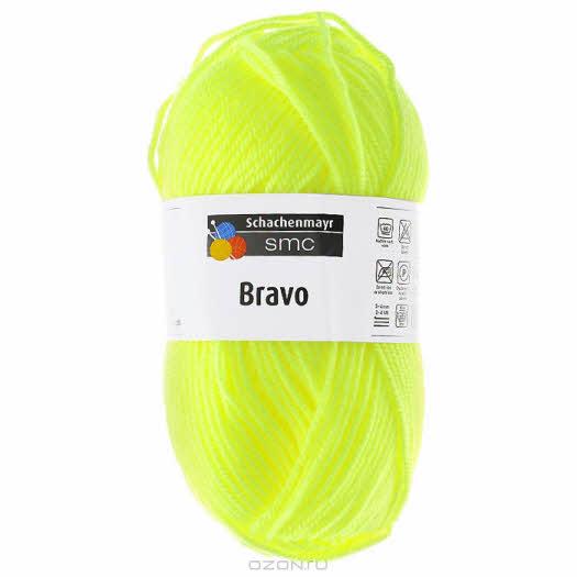 """Пряжа для вязания """"Bravo"""", цвет: неоновый желтый (08232), 133 м, 50 г"""