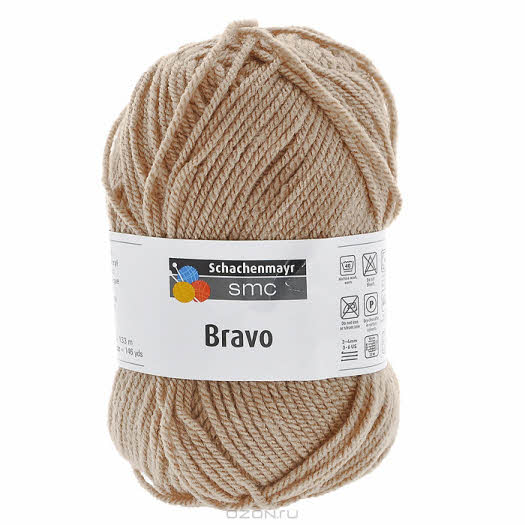 "Пряжа для вязания ""Bravo"", цвет: бежевый (9801211), 133 м, 50 г"