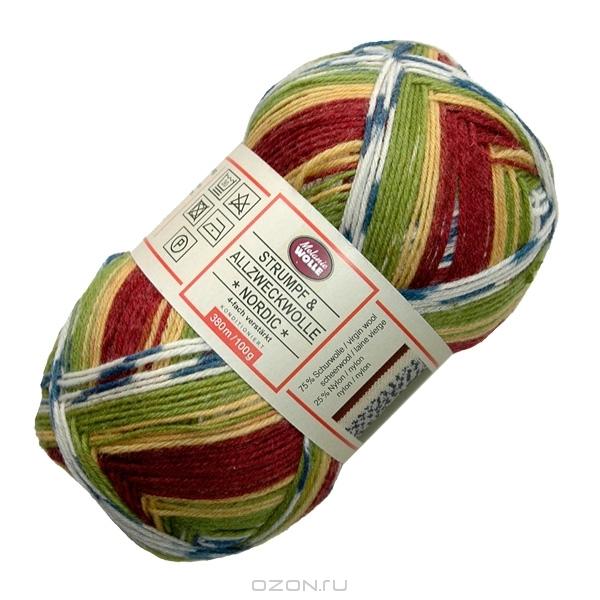 "Носочная пряжа Melanie Wolle ""Nordic"", цвет: бежевый, белый, бордовый, зеленый, синий (5042-80), 100 г, 380 м"