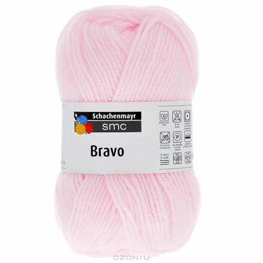 "Пряжа для вязания ""Bravo"", цвет: светло-розовый (08314), 133 м, 50 г"
