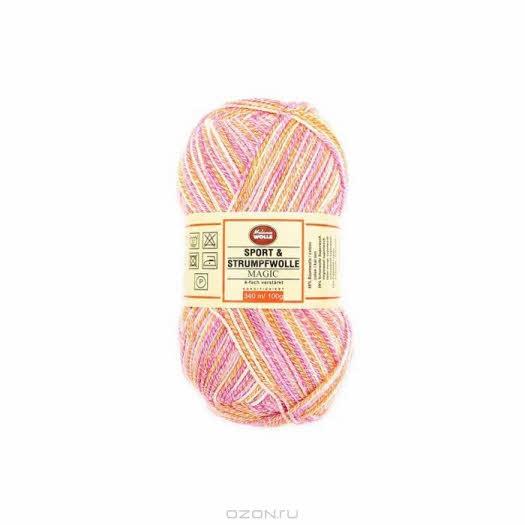 """Носочная пряжа Melanie Wolle """"Magic"""", цвет: белый, желтый, розовый (5034-90), 340 м, 100 г"""