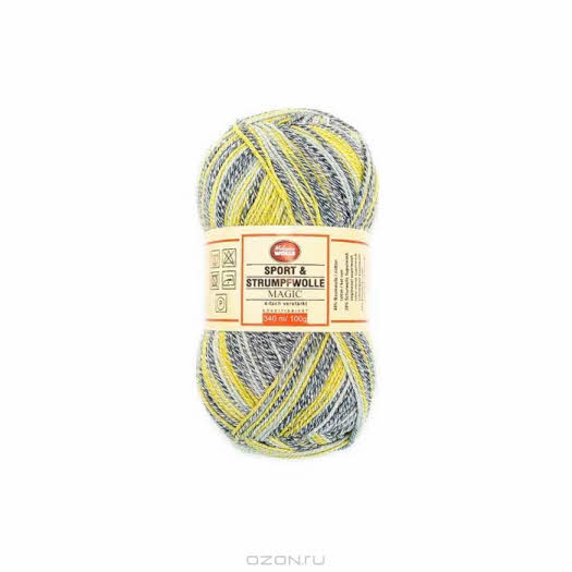 """Носочная пряжа Melanie Wolle """"Magic"""", цвет: белый, желтый, серый (5034-92), 340 м, 100 г"""
