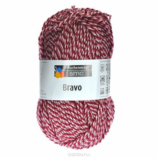 """Пряжа для вязания """"Bravo"""", цвет: бежевый, бордовый (08183), 133 м, 50 г"""